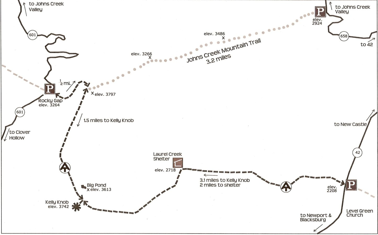 Hiking Trails Virginias Mountain Playground - Appalachian trail shelters map
