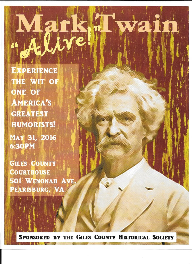 "May 31st at the Courthouse, guests will experience Mark Twain ""Alive!"""