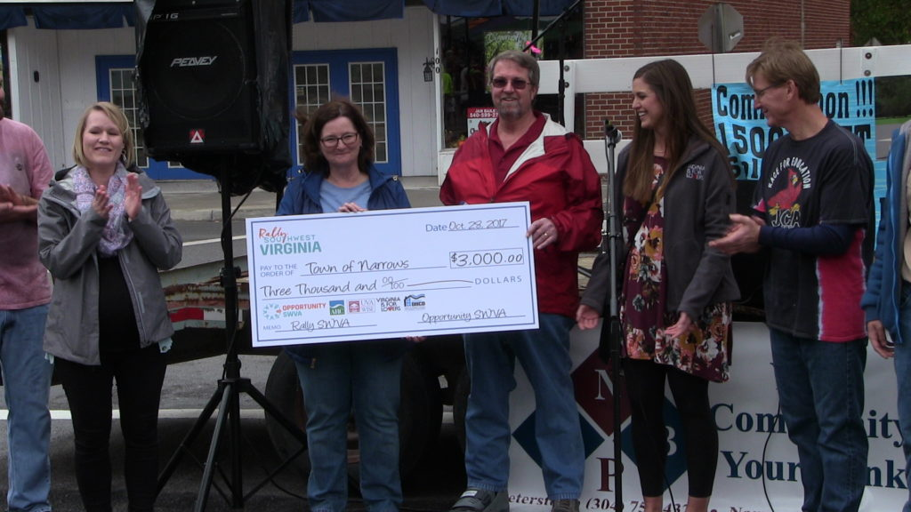 check presentation to the Narrows RALLY