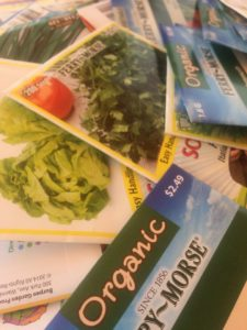 Some seed options considered for the Giles Community Garden