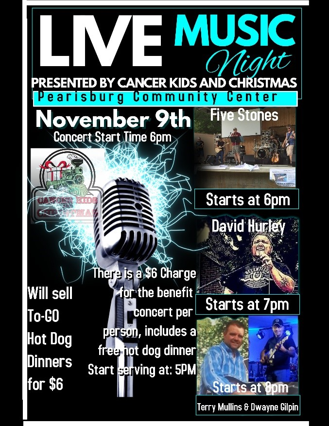 poster describing Cancer Kids and Christmas music events