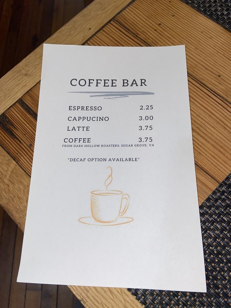 coffee bar menu printed on paper
